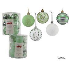Palline in verde bianco per albero di natale da decorazioni addobbi cm 6 PZ12