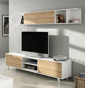Mueble salón comedor, modulo TV + estante Blanco Brillo y Roble Canadian, Zaiken