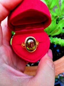 Naga Eye Ring Brass Green Gem Serpent Painting Thai Amulet Charm Wealth Lucky