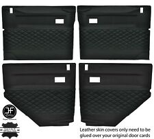 BLACK DIAMOND STITCH 4X DOOR CARD LEATHER COVERS FOR LAND ROVER DEFENDER 90 110