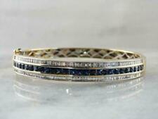 7 Ct Vintage Blue Sapphire & Diamond 14k Yellow Gold Over Bangle Bracelet