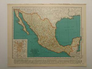 1938 Vintage MEXICO Authentic Antique Atlas Map - Collier's World Atlas