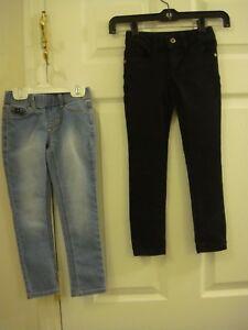 Girls 2 Pc Jordache Jegging Jeans Size 4-5 Faded Glory Black Jeggins Size 6 Slim