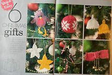 6 Christmas Gifts KNITTING PATTERN Tree Decorations Robin Bauble Candy Cane Bell