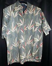 LN Men's Bamboo Cay M Gray Pink Beige 100% Cotton Lawn SS Floral Hawaiian Shirt
