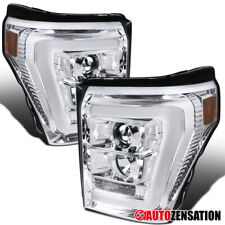 For 2011-2016 Ford F250 F350 Super Duty Clear Projector Headlights LED DRL Bar