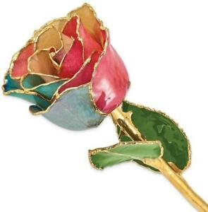 Lacquer Dipped Gold-Tone Trim Tri-color Rose