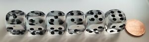 Koplow Deluxe Transparent Clear - *Six* 16mm  Dice w/Black Pips - 15% DISCOUNT!