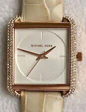 NWT MICHAEL KORS Lake Rose Gold Glitz Cream Leather 32mm Square Watch MK2610