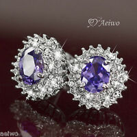 18k white gold gf made with SWAROVSKI crystal stud earrings purple oval jewelry