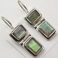 925 Sterling Silver BLUE FIRE LABRADORITE FACETTED TRADITIONAL Earrings 1.1""