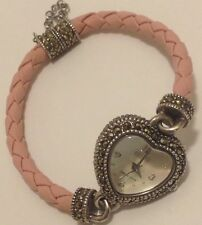 "ECLISSI STERLING SILVER HEART MARCASITE PINK ROPE BAND WATCH SIZE 7.75"" #PRSCLC"
