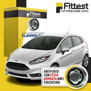 Kit Bulloni Antifurto Ford Fiesta VI Cerchi Lega o Acciaio Sistema FlowerLock