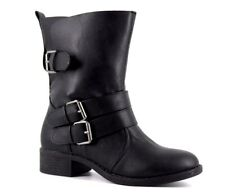 JustFab Selene Womens UK 4 Black Faux Leather Buckle Up Biker Style Ankle Boots
