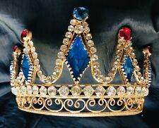 & Sapphire Crystals Crown Tiara. Magnificent Antique French Original Ruby