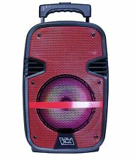 "Fully Amplified Bluetooth 1600W Peak Power 8"" Speaker with LED & Mic - Red"
