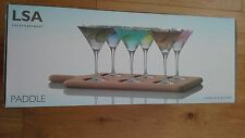 LSA International 47 cm Cocktail Set and Oak Paddle, Clear Glass
