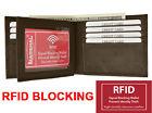 RFID Blocking Safe Mens Bifold Card Id Credit Flap Leather Wallet Brown