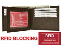 Brown RFID Blocking Men's Bifold Center Flap Leather Wallet U.S Seller
