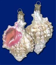 White Mexican Seashell Old World Christmas Glass Nautical Ornament Nwt 12177