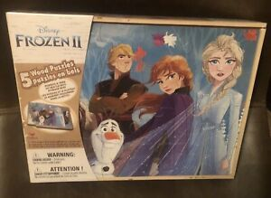 Disney Frozen ll Five Wood Puzzles Set In Wood Storage Box New Sealed 3+