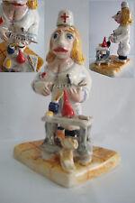 Sculpture NURSE MEDICAL handmade ceramic - Escultura a mano ENFERMERA MEDICA