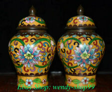 "6"" Qianlong Marked Old Chinese Copper Cloisonne Dynasty Palace Flower Tank Jar"