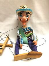 Vintage Mexican Folk Art Marionette String Puppet Man With Hat