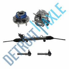 Power Steering Rack and Pinion + 2 Outer Tie Rod + 2 Wheel Hub Bearing Assembly