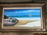 """Vintage W.J Davis """"Oceanside Scene"""" Oil Painting - Signed And Framed"""
