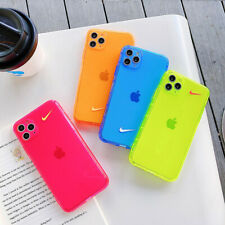 Neon Summer Color Plain Fashion Nike Phone Case Cover For iPhone11Pro 7 8 XR XS