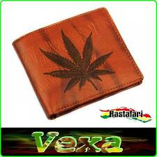 CANNABIS Wallet Rasta Reggae Ganja Canvas Brown card photo Billfold purse WT02