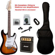 Kit Chitarra Elettrica Stratocaster Sunburst Amplificatore Marshall e Accessori