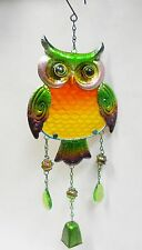 Owl Bell Wind Chime- Metal Sun Catcher, Fused Glass, Marbles, Faceted Beads  21""