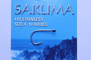 Sakuma 410 Stainless steel hooks, various sizes. Great Saltwater fly hooks!