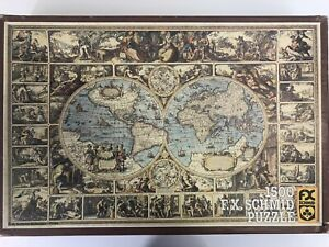 1500 Piece F.X. Schmid Puzzle ANTIQUE WORLD MAP Dated 1979 USED