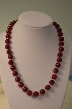 Multi Faceted Deep Pink Aventurine Hand Knoted Stand Necklace
