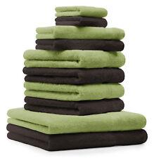10-tlg. Handtuch Set Classic - Premium, Farbe: Apfel-Grün & Dunkelbraun, 2 Seift