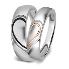 """10k White Gold """" Real Love """" Heart Couples Promise Engagement Ring Wedding Band"""