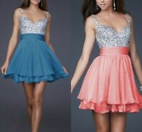 Womens Sequins Sexy Backless Evening Prom Cocktail Formal Party Mini Short Dress