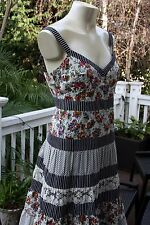Anthropologie Nanette Lepore Floral Tiered Lace Bird Stripes Print Silk Dress 8