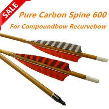 """6X 30"""" Wood Camo Pure Carbon Hunting Arrows Spine 600 for Compoundbow Recurvebow"""