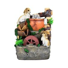 Dogs Puppies Pets Pot Pond Indoor Tabletop Water Fountain Fall LED Light
