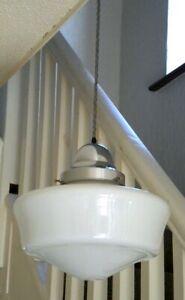 "School House Opaline Glass PENDANT LIGHT - 11"" Dia | Mid 20th Century, 1940/50s"