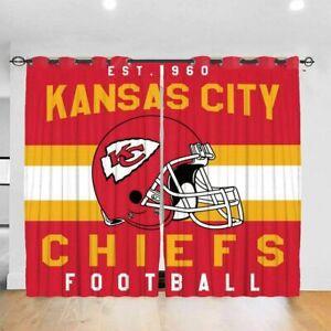 Kansas City Chiefs Football 1 Pair Blackout Curtain Shade Thermal Window Drapes