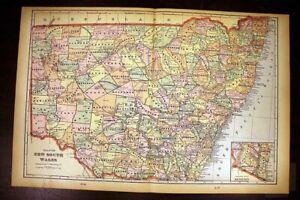 "New South Wales Australia Antique Color Map 1901 Cram's 14½"" x 22"" New Guinea"