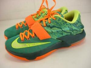 Mens 10 M NIKE KD 7 Weatherman Green Orange Yellow Kevin Durant 653996-303 Shoes