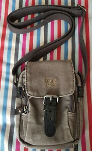 Small Troop London Grey Canvas Bag with Leather Trim