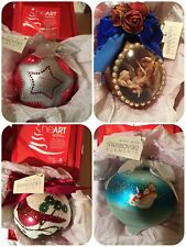 Lot of 4 Collectible Ornaments made with Swarovski Elements In Red Boxes