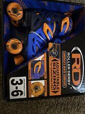 New Sealed Roller Derby Boys Size 3 to 6 Adjustable Skates Blue Orange Quick Fit